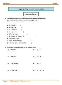 Grade 9 Mathematics: Algebra - Factorisation