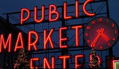 Seattle pike market Neon sign and clock installed in 1929.
