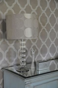 stenciled wall & cool light... mirror on top of table to reflect the stencil... cool!