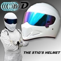 TopGGGear The STIG Helmet / TG Fans's Collectable / Like as SIMPSON Pig / White Motorcycle Helmet with Colorful Visor Cosplay