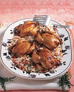 Cornish Hens with Pomegranate-Molasses Glaze