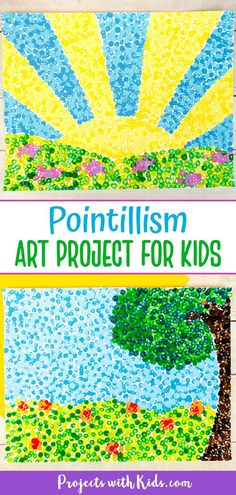 Simple Pointillism for Kids Painting Idea