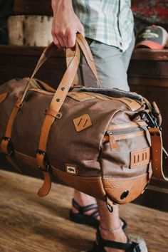 Not long before our father died, my brother and I invited him to join us for a hike in Yosemite valley. He showed up carrying an old vintage leather bag from God knows when. Come to find out, it belon Canvas Duffle Bag, Leather Duffle Bag, Duffle Bag Travel, Leather Briefcase, Weekender, Travel Bags, Men's Briefcase, Mens Luggage, Luggage Bags