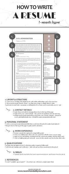 lesson: How to write a resume. Learn how to create a perfect CV in less - Resume Template Ideas of Resume Template - lesson: How to write a resume. Learn how to create a perfect CV in less than 1 minute. Resume Advice, Job Resume, Career Advice, Resume Ideas, Resume Skills, Career Success, Best Resume Format, Resume Layout, Resume Design