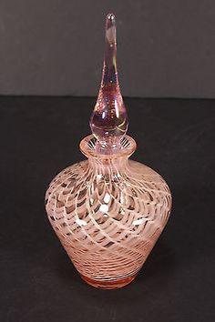 Art Glass Perfume Bottle W/ Stopper Pink Swirl Paperweight & Iridescent Top