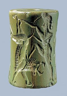 Art Loaned to the Beijing World Art Museum : Mesopotamian Cylinder Seal CIRCA 2350-2150 BC NOW IN UNIVERSITY OF PENNSYLVANIA MUSEUM.