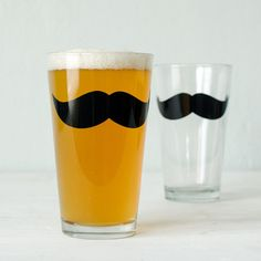 Moustache Glassware pint and rocks screen printed barware by vital (Home & Living, Kitchen & Dining, Drink & Barware, Drinkware, Tumblers & Water Glasses, screenprint, pint glass, glassware, men, man cave, barware, gift, mustache, moustache, mustache glass, facial hair, Housewares, Kitchen)
