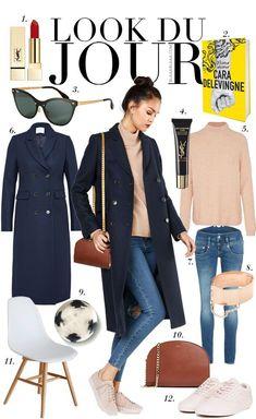 Look Du Jour: Light pink sweater+skinny jeans+light pink sneakers+navy long coat+cognac chain shoulder bag+sunglasses. Winter Pullover Outfits, Winter Sweater Outfits, Winter Fashion Outfits, Casual Fall Outfits, Look Fashion, Navy Blazer Outfits, Blue Sweater Outfit, Long Coat Outfit, Navy Trench Coat