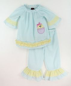 Look at this #zulilyfind! Teal Stripe Chick Ruffle Tunic & Pants - Infant & Toddler #zulilyfinds