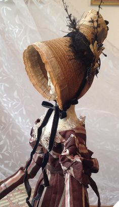 Rare Original Regency straw bonnet for Early wooden doll from dollyweatherwax on Ruby Lane