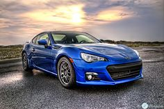 Blue Subaru BRZ  Sports Car At Sunset HDR by PixLPhotography, $20.00