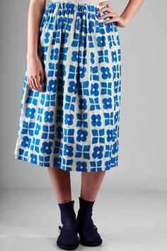 DANIELA GREGIS - Calf-Length Skirt In Washed Cotton With Graphic Squares  And Flowers Printing 697d9711f76