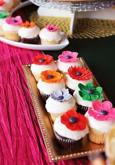 beautiful fondant flower peonies (used on simple grocery store bakery cupcakes!)