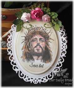 Spellbinders Floral Ovals create the card base.  Image by ODBD (Crown of Thorns)