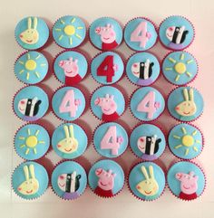 Peppa Pig Cupcakes by C for Cake, Gladesville, New South Wales, Australia… Peppa Pig Birthday Cake, Birthday Cupcakes, 3rd Birthday, Birthday Ideas, Pig Cupcakes, Fondant Cupcake Toppers, George Pig Party, Finding Nemo Cake, Cumple Peppa Pig