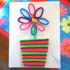 flower w/ a flower pot made from pipe cleaners!