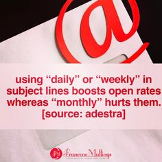 Using Daily or Weekly in subject lines boosts open rates whereas Monthly hurts them. [Source:Adestra]  For complete templates and best practices to plan your email marketing campaigns in a practical day to day situation. Check link in bio for The Practical Digital Marketing Planner. @digitalmarketcoach  #emailmarketing #digitalmarketing #business #success #smallbusiness
