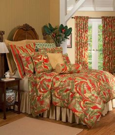 Captiva Red Palms Comforter Set