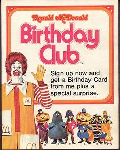 McDonald's Birthday Club 1975