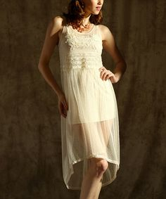 With a longer skirt and even hem, for the reception? This Ecru Net Hi-Low Dress is perfect! #zulilyfinds