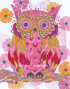 Whimsical Owl Painting Archival Print 8 X 10 by breanneholden, $21.00