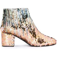 Pollini sequin ankle boots (€335) ❤ liked on Polyvore featuring shoes, boots, ankle booties, grey, grey booties, gray boots, short boots, leather bootie and grey boots