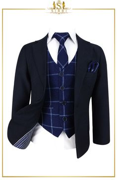 Tweed is on trend and he won't miss out with this boys navy blue suit that comes with a matching vintage style waistcoat, slim tie and hanky combo. Shop now at SIRRI kids #suits for boys for #wedding #communion online...Elegant fashion for children and men. #fashion #shopping