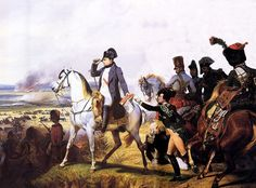 """""""Bataille de Wagram. 6 Juillet 1809."""" (Horace Vernet, 1836). In the Galerie des Batailles, Château de Versailles, France. The Battle of Wagram (5-6 July 1809), 10 kilometers north of Vienna,was one of Emperor Napoléon I's great victories (he defeated the Austrians) and the decisive  battle of the War of the Fifth Coalition. The floor around the Emperor's tomb bears the names of his more famous victories, including Wagram."""