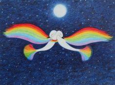 """""""Rainbow Birds"""" (framed) by Claudine Peronne"""