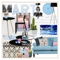 """pink/blue-black n white"" by jennross76 ❤ liked on Polyvore featuring interior, interiors, interior design, home, home decor, interior decorating, Lemnos, Wallace, Three Hands and Modloft"