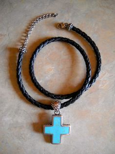 Turquoise, Mother of Pearl, Leather, & Sterling Cross Necklace #Statement