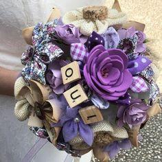 Bouquet de mariée. Fleurs en tissu. Fleurs en origami. Handmade with love