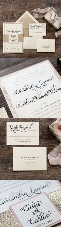 A 3 layer classic invitation with touches of glitter and glam, branded with a monogram topper. Invitation features 3 layers printed in black ink that is digitally printed for the names and monogram on an opal shimmer paper. The glitter bellyband and envelope liner compliments the glitter paper layer. All enclosures are shown 1 ply opal shimmer 1 color ink.