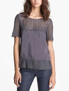 The Kooples Grey Lace & Silk Top