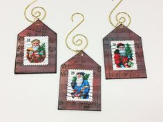 Old Time Santa Ornament, 3 Victorian Santa Claus House-Shape Postage Stamp Art by NaturesWalkStudio on Etsy