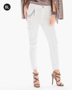 Chico's Women's Black Label Destructed Jeans, Ecru, Size: 2 (12 - L) REG