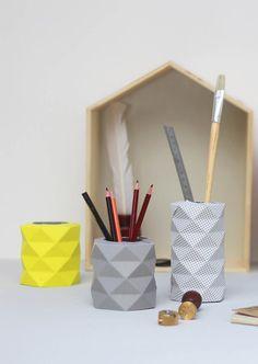 Yellow Paper Origami Vase Geometric Vase by TweelingenHomeDecor