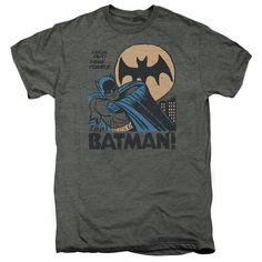 Batman Look Out Platinum Heather Fine Duo-Blend T-Shirt