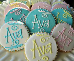 Monogram Cookies Name Cookies Baby Shower by CookieCoterie on Etsy, $20.00
