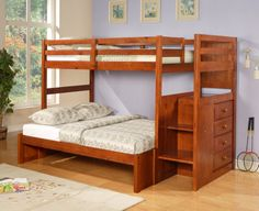 Twin Over Full Mission Reversible Stairway Bunk Bed (espresso)