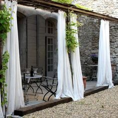 curtains and pea gravel