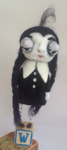Wednesday Addams ooak art doll by papermoongallery on Etsy, $59.00