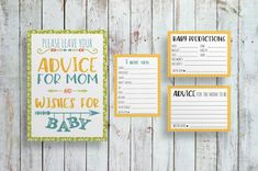 DIY PRINTABLE Advice for Mom to Be Sign and Advice Cards