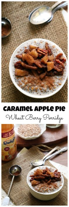 Dessert for breakfast?! It's possible if you're having a bowl of this creamy caramel apple pie wheat berry porridge!