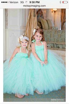 Mint and peach wedding gorgeous flower girls