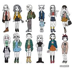 Compiled them together ! #illustration #art #doodle #drawing #outfits #ootd #polyvore