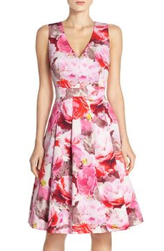 Eliza J Floral Pleat Faille Fit & Flare Dress (Regular & Petite) available at #Nordstrom