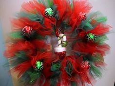 Christmas tulle wreath with glitter tulle and add on ornaments-Christmas gift- Christmas party- Christmas decor by FizzyParty on Etsy https://www.etsy.com/listing/167929641/christmas-tulle-wreath-with-glitter