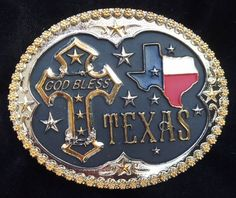 "(WFATBR245) ""God Bless Texas"" Cross Kid's Belt Buckle"