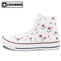 109.65$  Watch now - http://alim3m.worldwells.pw/go.php?t=2019879262 - Womens Mens Converse All Star Woman Man Shoes Nature Flower Floral Original Design Hand Painted Shoes White High Top Sneakers